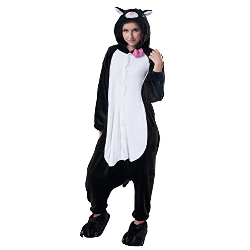 Anim-Unisex Kigurumi Pajamas Adult Costume Animal Pyjamas Flannel-Black Cat