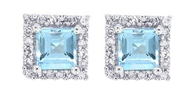 0.58Ct Princess Cut Aquamarine Earrings with Diamonds in 10Kt White Gold