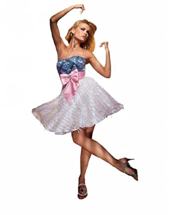 Tony Bowls TS11172, Effervescent minidress with oversize bow and fringed skirt by Tony Bowls Shorts.