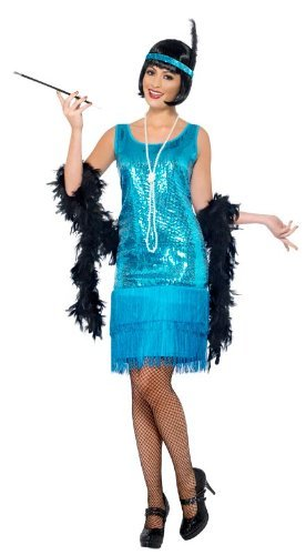 Smiffy'S Flirty Flapper Costume, Blue, X-Large