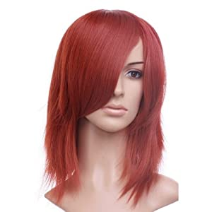 Red Orange Medium Cut Anime Costume Cosplay Wig