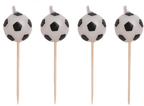 Creative Converting 4 Count Sports Fanatic Soccer Shaped Pick Candles - 1