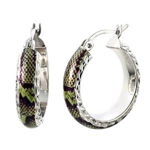 CleverEve Designer Series Green Snake Skin Round Hoop Sterling Silver Earrings