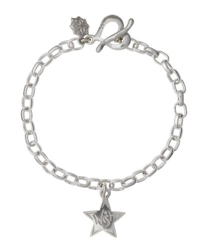 Dower  &  Hall, Charm Collection - Solid Sterling Silver Wish Star on Oval Belcher Charm Bracelet