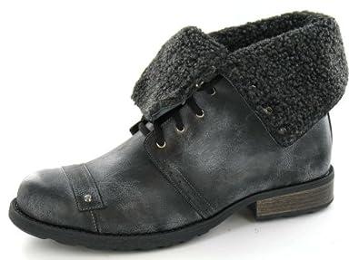 Maverick Low Lace Up Boot / Fleece Turn Collar (Brown, Size 6 UK)