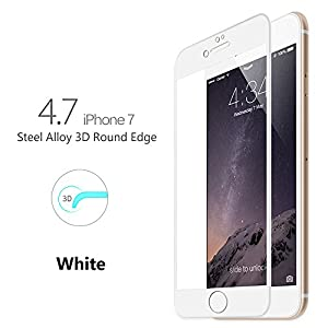 iPhone 7 Screen Protector, Mothca 3D Curve Edge Tempered Glass Full Screen Coverage Edge to Edge HD Clear Screen Protector Film with Thin but Tough Piano Paint Finish Steel Alloy Frame (White) from Mothca