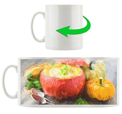 Soupe de potiron, Motif tasse en blanc 300ml céramique, Grande idée de cadeau pour toute occasion. Votre nouvelle tasse préférée pour le café, le thé et des boissons chaudes.