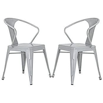 Merax Stackable Metal Dining Chairs Vintage Outdoor Side Back Chairs with Arms, Grey, Set of 2