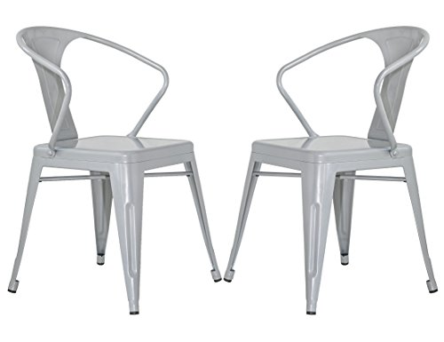 Merax Stackable Metal Dining Chairs Vintage Outdoor Side Back Chairs with Arms, Grey, Set of 2 0