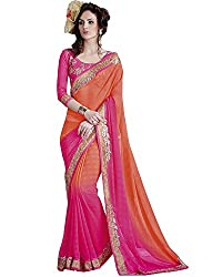 Vishal Prints Orange & Rani Shaded Saree With Embroidery Blouse Piece