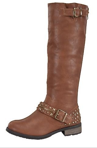 Women'S Knee High Accent Studded Riding Boots In Black Tan Brown (7, Tan)