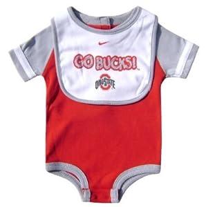 Nike Ohio State Buckeyes Go Bucks Red Baby Creeper & Bib Set by Nike