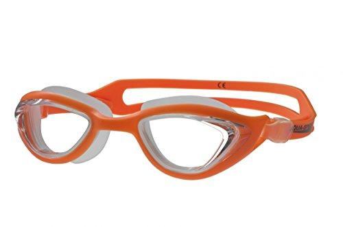 AQUA-SPEED® MARIS Occhiali da Nuoto (Vetro di sicurezza Silicone Antinebbia Protezione UV), Model:Maris / 75 arancio-incolore