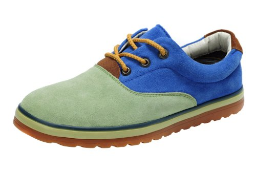 GKT Men's Fashionable British Style Suede Autum Leisure Board Shoes Blue Green 38 EU