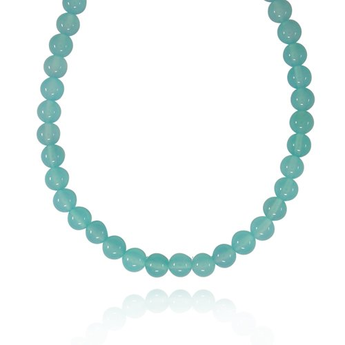 10mm Round Sea Blue Chalcedony Bead Necklace, 50
