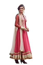 The Zeel Fashion pink Color gorgette Anarkali Salwar Suit Unstitched dress material
