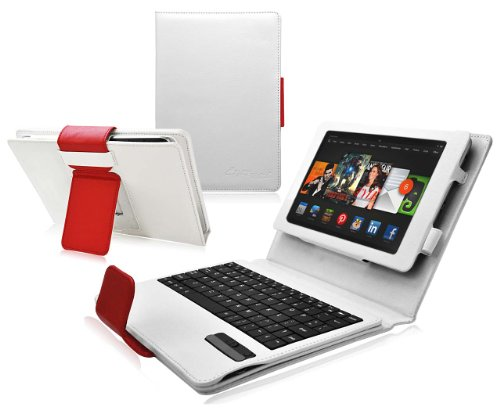 Ionic Tablet Stand Leather For Amazon Kindle Fire Hdx 8.9 Keyboard Case Bluetooth (White Red)