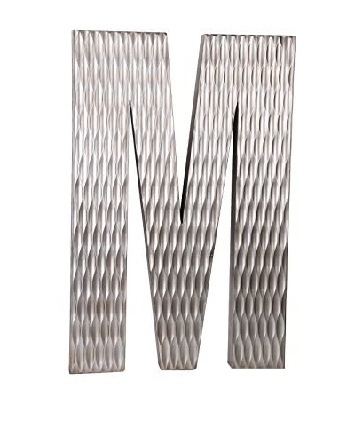 Privilege Large Wood Letter M Design, Silver
