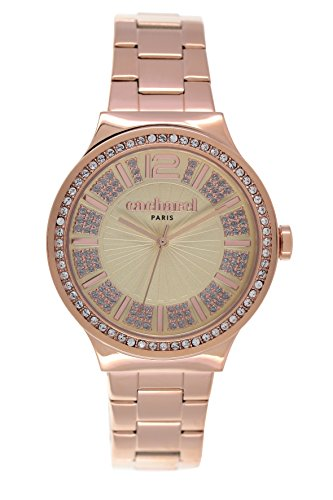 Cacharel-CLD 038S 2nd/Women's Watch Analogue Quartz Black Dial Steel Strap-Yellow-Plated Pink