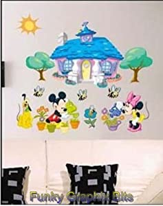 Disney giant decorative moveable wall stickers for girl 39 s bedroom with micky and mini mouse - Mini mouse bedroom ...