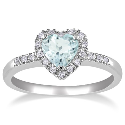 af99923f9a ... Sterling Silver Aquamarine and Diamond Heart Ring (0.1 Cttw, G-H Color,  ...