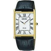 Seiko Solar White Dial Black Leather Men's Watch