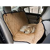 "Dog Travel Hammock & Back Seat Cover - Protect Your Car, Truck or SUV From Dirt, Hair or Dander With This Durable Super Soft Heavy Gauge Waterproof Fabric - Perfect for Large & Small Pets. Also Protects Your Furniture, Couches & Sofas - 50 1/2"" x 56 1/2"" - Golden Brown"