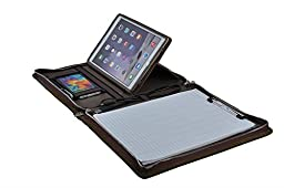 Executive Suede Leather Letter-Size Padfolio with Kickstand Holder for iPad Air / Air 2, Brown