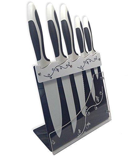 Ceramic Coated Cutlery Knives Set Chefs Paring Carving Elegant Knife Block 5Pcs
