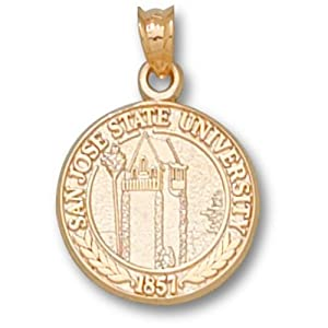 San Jose State University Spartan Seal Pendant 5 8 Inch - Gold Plated by Logo Art