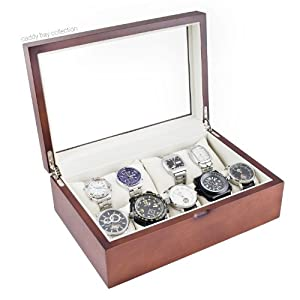 Vintage Wood Watch Case Display Storage Box With Glass Viewing Top Holds 10+ Watches Adjustable Soft Pillows and High Clearance for Larger Watches-Vintage Series II