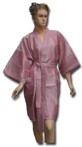 Satin Kimono Bath Robe Night Gown Geisha Flower Japan unisize for S / M pink KU09