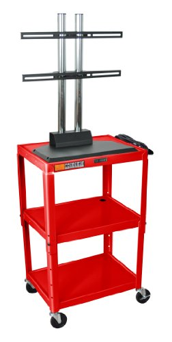 Red 42 Inch 3 Shelf Steel Adjustable Height Av Cart With Lcd Mount