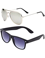 SHEOMY COMBO OF STYLISH GOLDEN SILVER MERCURY AVIATOR AND BLACK WAYFARER SUNGLASSES WITH 2 BOX - Free Delivery
