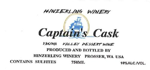 "Nv Hinzerling Winery ""Captain'S Cask"" White Port 750 Ml"