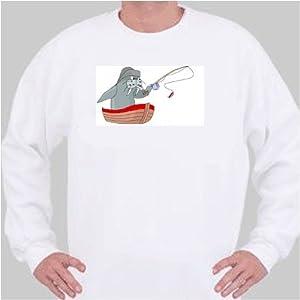 Sweatshirt with boat, walrus, fisherman, fishing, pole