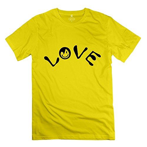 Zya6W Valentine'S Day Men Love Smile Face Art T-Shirt Yellow M