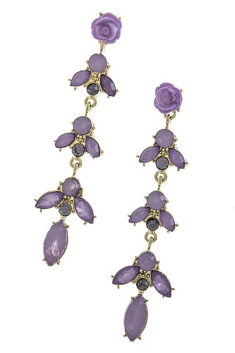 Trendy Fashion Jewelry Rose Post Jewel Vine Earrings By Fashion Destination | (Lavender)