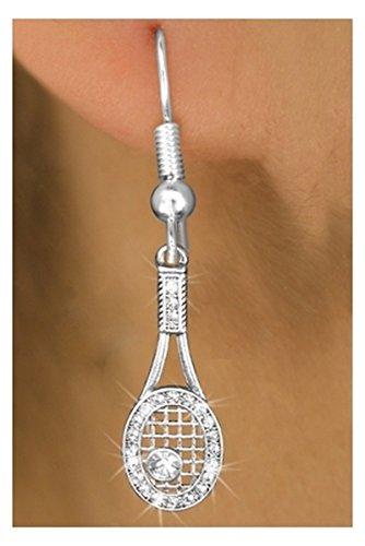 Crystal Tennis Racquet Charm Earrings (Cheap Cheerleader Pom Poms)