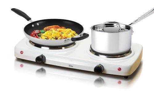 Find Bargain MaxiMatic EDB-302F Elite Cuisine Dual Temperature Double Burner 1500-Watt Hot Plate, Wh...