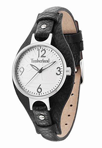 Timberland - TBL.14203LS-01B - Deering - Montre Femme - Quartz Analogique - Cadran Argent - Bracelet Cuir Noir