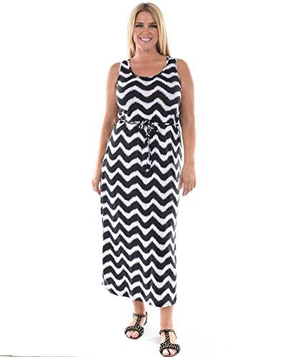 Allora Women's Plus Size Chevron Maxi Dress (1X, White/Black)