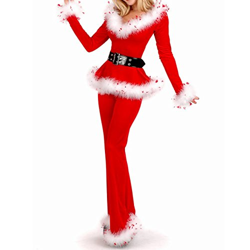 H:oter Women's Sexy Secret Santa Costume/Mrs Miss Christmas Santa Fancy Dress Costume Outfit (Plus Size Sexy Santa Christmas Costume)