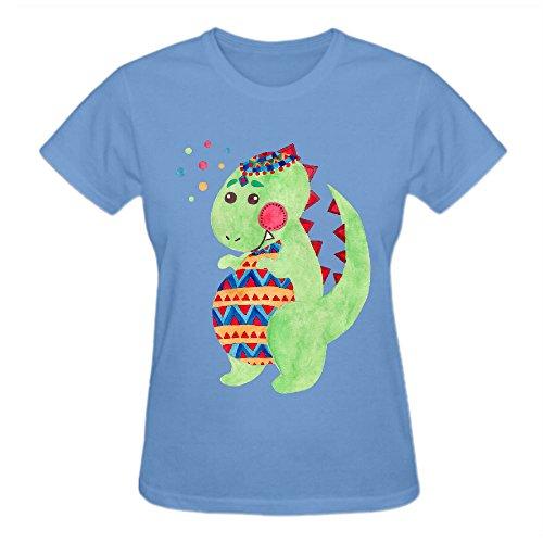 Firebo Green Dino Dinosaur Funny Cotton O-Neck T Shirts For Women Blue