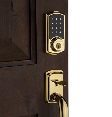 Kwikset SmartCode 916 Z-Wave Touchscreen Electronic Deadbolt with Home Connect Technology, Polished Brass