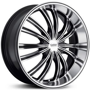 Cruiser Alloy Shadow 22x9.5 Machined Black Wheel / Rim 6x132 & 6x5.5 with a 25mm Offset and a 100.40 Hub Bore. Partnumber 912MB-2296925