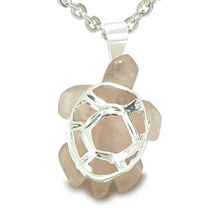 """Lucky Turtle Rose Quartz Love Powers Amulet 22"""" Necklace"""