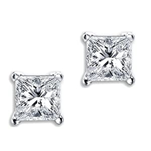 Princess Cut Square Diamond CZ Basket Set Silver Unisex Stud Earrings