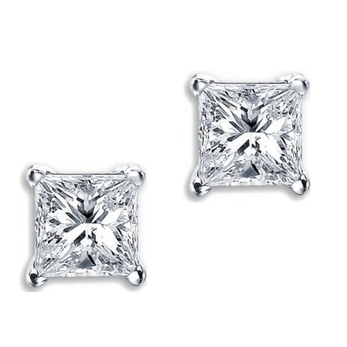 Princess Cut Square Diamond CZ Basket Set Silver Unisex Stud Earrings (5mm 0.75ct.)