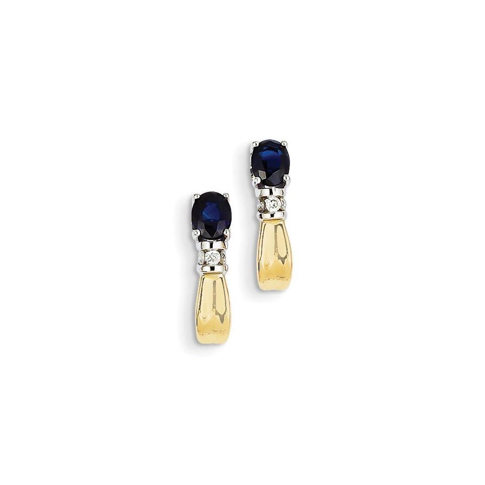 14K Two Tone Gold 0.5IN Long Diamond & Sapphire J Hoop Post Earrings